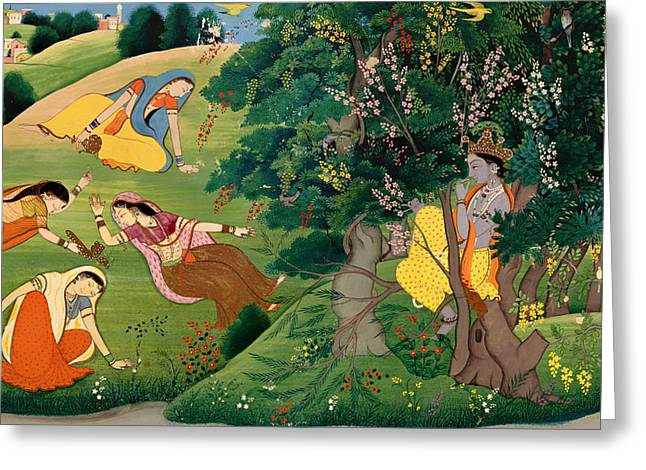 Krishna Fluting To The Milkmaids Greeting Card by Mountain Dreams