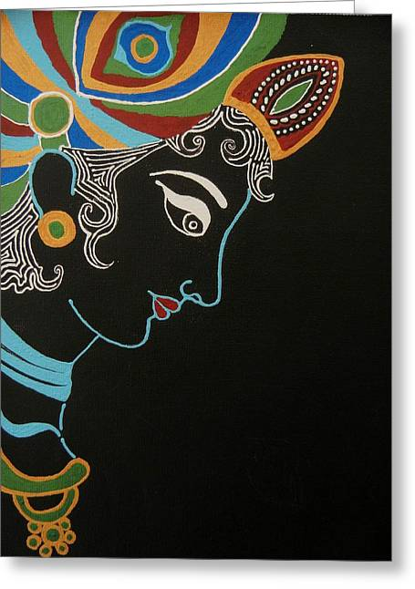 Gopala Greeting Cards - Krishna II Greeting Card by Kruti Shah