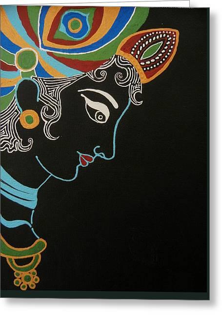 Gopala Greeting Cards - Krishna II Greeting Card by Kruti Shah