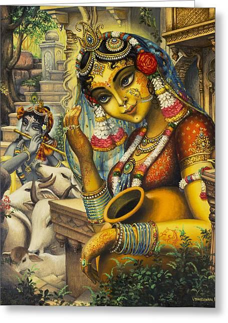 Krishna Greeting Cards - Krishna is here Greeting Card by Vrindavan Das