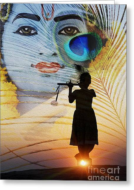 Religious Digital Art Greeting Cards - Krishna Jai Greeting Card by Tim Gainey
