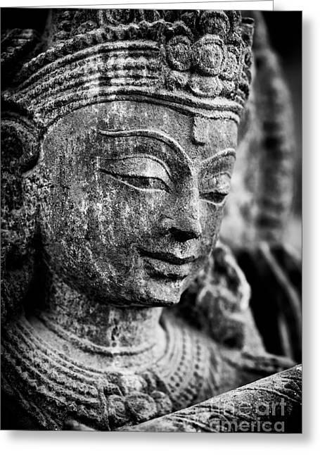 Krishna Monochrome Greeting Card by Tim Gainey