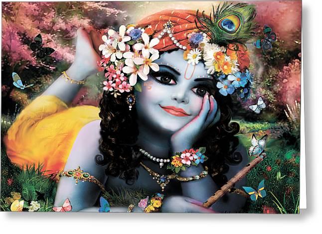 Rama Greeting Cards - Krishna-sky boy Greeting Card by Lila Shravani