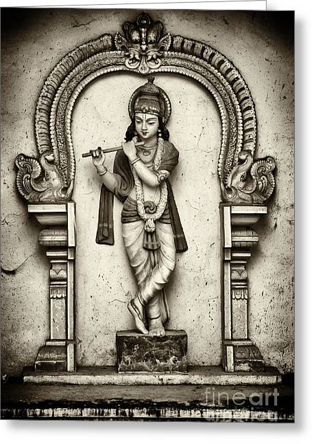 Sacred Photographs Greeting Cards - Krishna Temple Statue Greeting Card by Tim Gainey