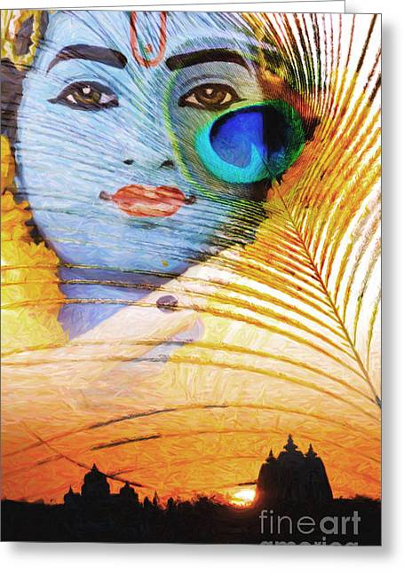 Religious Digital Art Greeting Cards - Krishna Temple Sunrise Greeting Card by Tim Gainey