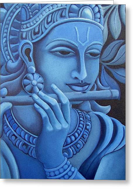 Vishwajyoti Mohrhoff Greeting Cards - Krishna Greeting Card by Vishwajyoti Mohrhoff