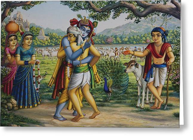 Gopi Greeting Cards - Krishna with his dear friend  Greeting Card by Vrindavan Das