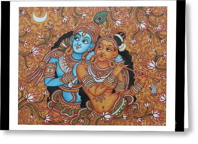 Kerala Murals Greeting Cards - Krishna with Radha playing the Flute Greeting Card by Navin PB