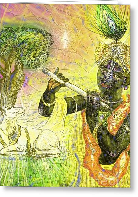 Krishna With Spiritual Illumination Greeting Card by Michael African Visions