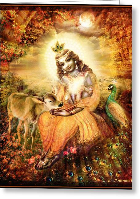 Hindu Art Greeting Cards - Krishna with the Calf Greeting Card by Ananda Vdovic
