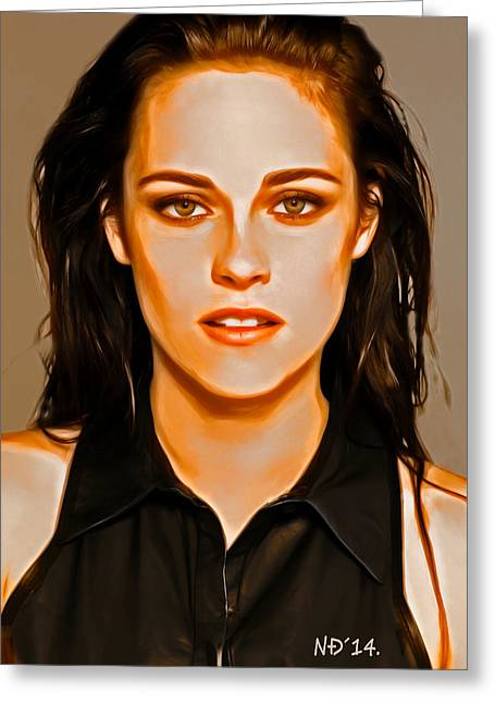 Lucent Dreaming Greeting Cards - Kristen Stewart - Acrylic Greeting Card by Nikola Durdevic