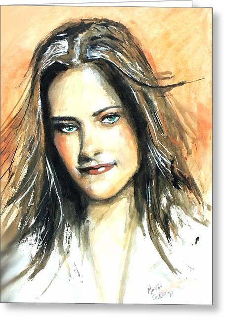 Kristen Stewart Greeting Cards - Kristen Stewart - Bella Greeting Card by Marcello Cicchini