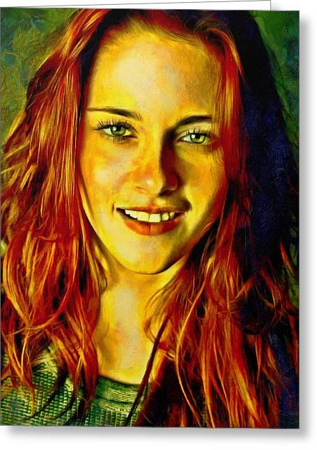 Kristen Stewart Greeting Cards - Kristen Stewart Greeting Card by Nikola Durdevic