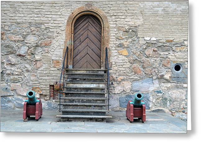 Archbishop Greeting Cards - The Archbishops Residence Door and Cannons Greeting Card by Carol  Eliassen