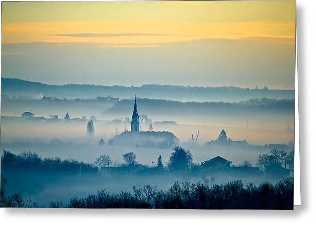 Byzantine Greeting Cards - Krizevci cathedral in fog landscape Greeting Card by Dalibor Brlek