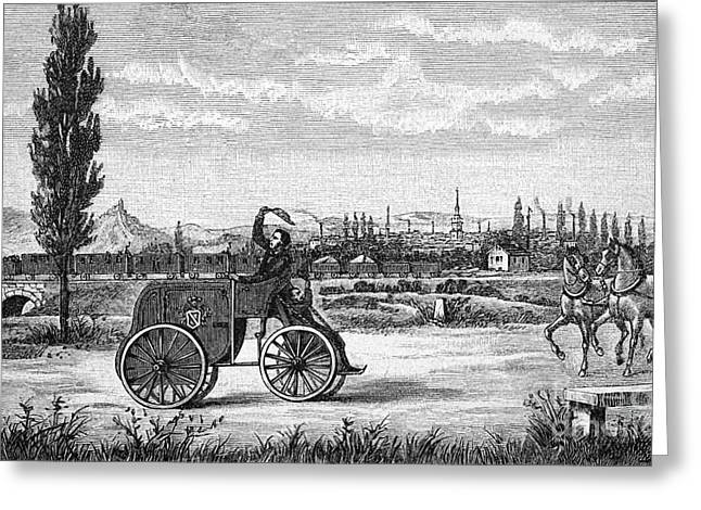 Driving Machine Greeting Cards - Kroeners Driving Machine, 1840s Greeting Card by Bildagentur-online