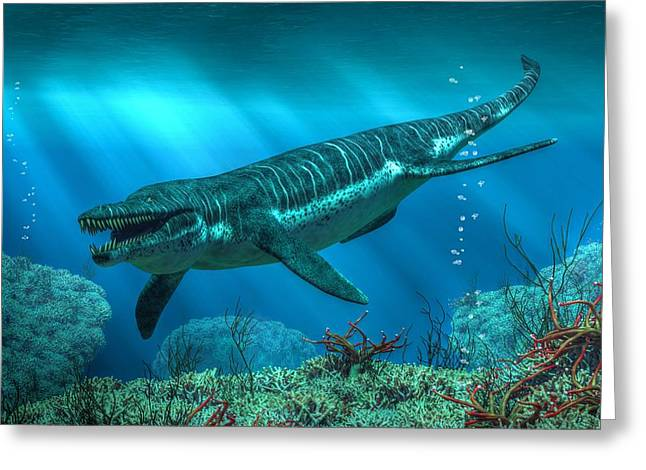 Triassic Greeting Cards - Kronosaurus Greeting Card by Daniel Eskridge