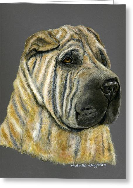 Dog Art Greeting Cards - Kruger Shar Pei Portrait Greeting Card by Michelle Wrighton