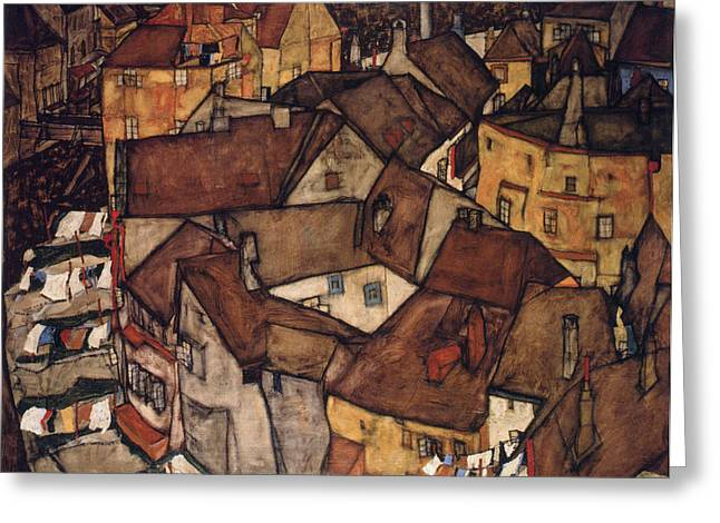Distortion Paintings Greeting Cards - Krumau Town Crescent Greeting Card by Celestial Images