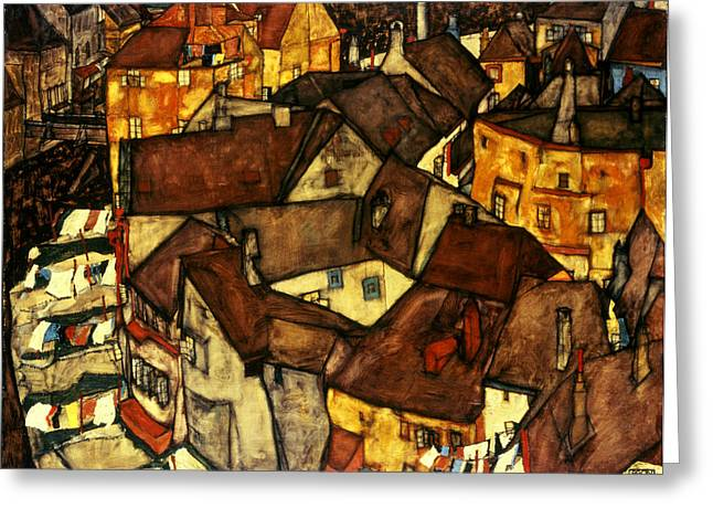Mundane Greeting Cards - Krumau Town Cresent, 1915 Greeting Card by Egon Schiele