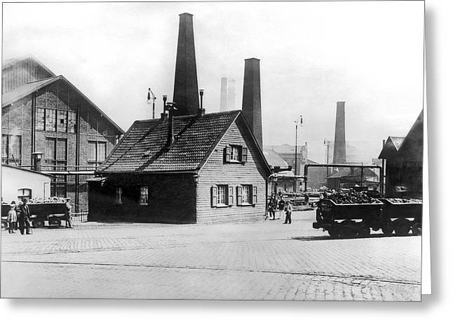 Essen Greeting Cards - Krupp Works Founded Here Greeting Card by Underwood Archives