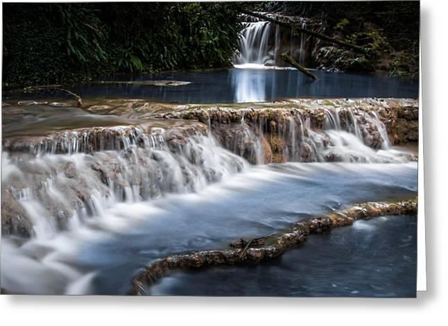 Waterfalls Pyrography Greeting Cards - Krushuna Waterfalls Bulgaria Greeting Card by Krasimir Kanchev