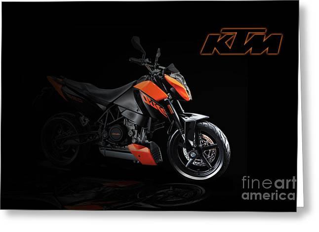 Ktm Greeting Cards - KTM Duke 690 Greeting Card by J Biggadike