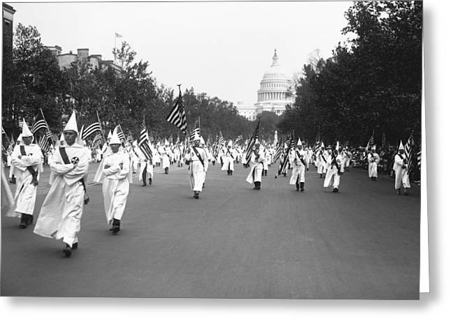 Lady Washington Greeting Cards - Ku Klux Klan Parade Greeting Card by Library of Congress