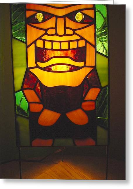 Tropical Stain Glass Glass Art Greeting Cards - Ku Tiki Hawaiian God of War lamp Greeting Card by DK Nagano