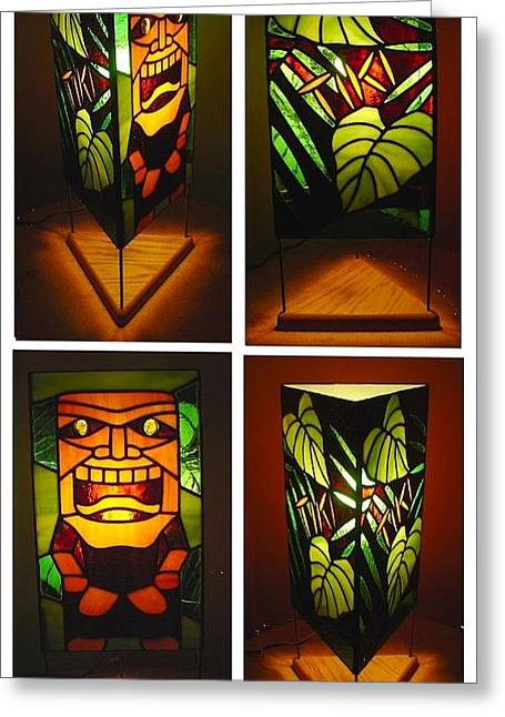 Tropical Stain Glass Glass Art Greeting Cards - Ku Tiki Hawaiian God of War stained glass lamp Greeting Card by DK Nagano