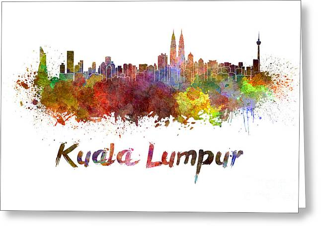 Clipping Path Greeting Cards - Kuala Lumpur skyline in watercolor Greeting Card by Pablo Romero