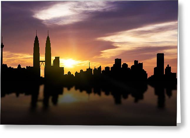 Twin Towers Greeting Cards - Kuala Lumpur Sunset Skyline  Greeting Card by Aged Pixel