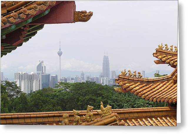 Twins Pyrography Greeting Cards - Kuala Lumpur through a historic pagoda Greeting Card by A J