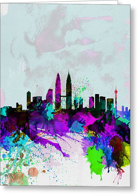 Malaysia Greeting Cards - Kuala Lumpur Watercolor Skyline Greeting Card by Naxart Studio