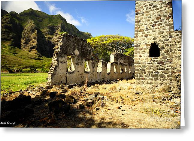 Kualoa Sugar Mill Remains Greeting Card by Cheryl Young