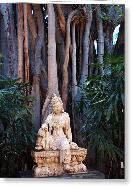 Garden Statuary Greeting Cards - Kuan Yin Greeting Card by Jeri lyn Chevalier