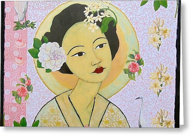 Kuan Greeting Cards - Kuan Yin Greeting Card by Sylvia Vaughan