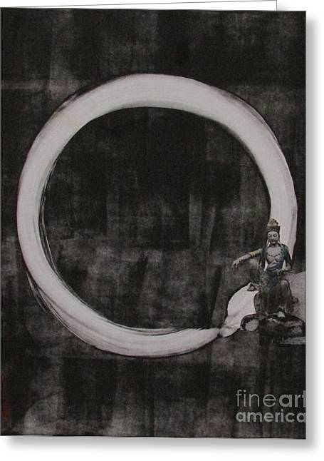 Kuan Yin With Enso Greeting Card by Beth Fischer