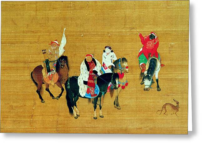 Archer Greeting Cards - Kublai Khan 1214-94 Hunting, Yuan Dynasty Ink & Colour On Silk Detail Greeting Card by Liu Kuan-tao