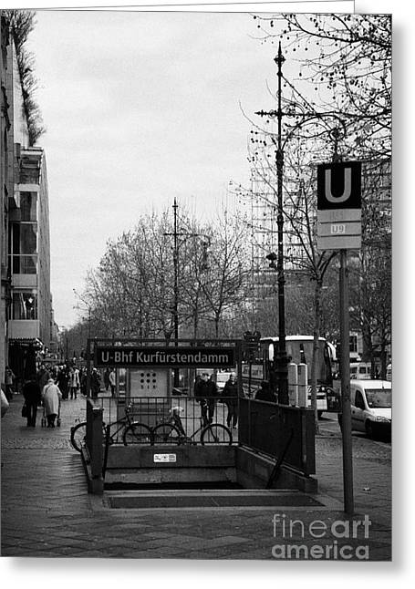 Kudamm Photographs Greeting Cards - Kufurstendamm u-bahn station entrance Berlin Germany Greeting Card by Joe Fox