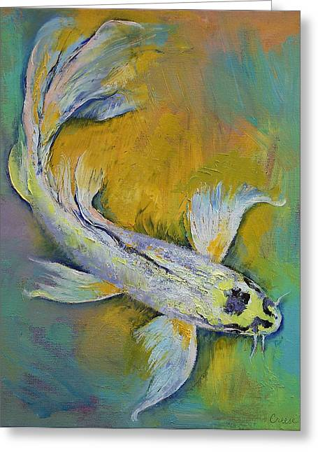 Japanese Koi Greeting Cards - Kujaku Butterfly Koi Greeting Card by Michael Creese