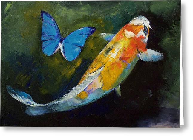 Japanese Koi Greeting Cards - Kujaku Koi and Butterfly Greeting Card by Michael Creese
