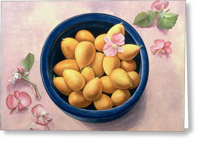 Exotic Fruit Greeting Cards - Kumquats and Blossoms Greeting Card by Tomar Levine