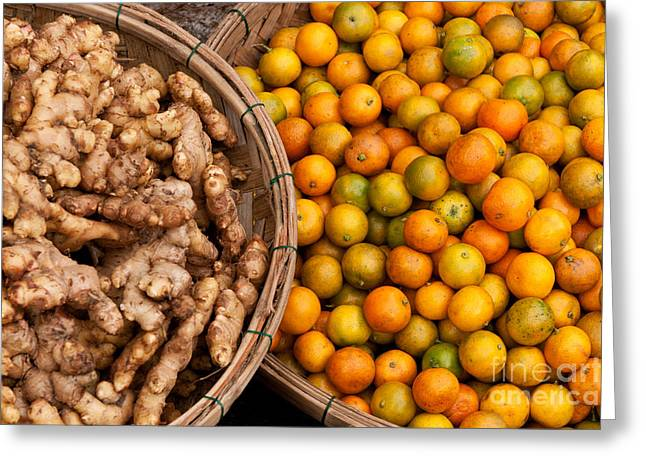 Fresh Food Greeting Cards - Kumquats And Ginger Greeting Card by Rick Piper Photography