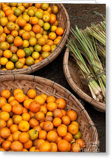 Fresh Food Greeting Cards - Kumquats Lemongrass 02 Greeting Card by Rick Piper Photography