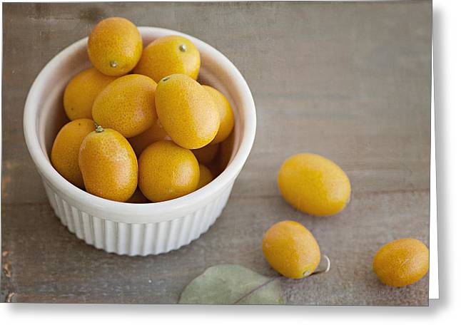 Tangerine Greeting Cards - Kumquats No. 3 Greeting Card by Kristin Burge