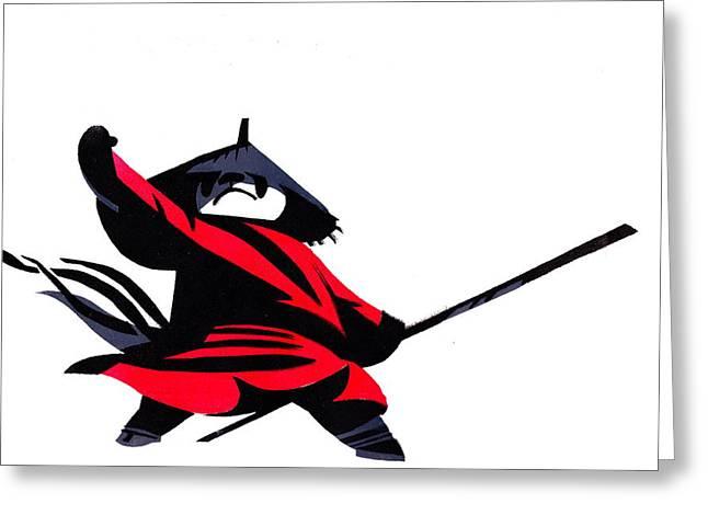 Bamboo Mixed Media Greeting Cards - Kung Fu Panda Greeting Card by Max Good