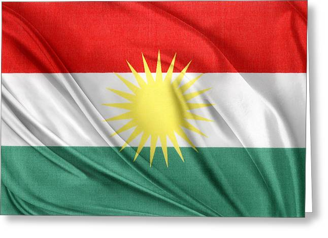 Kurdistan Flag Greeting Card by Les Cunliffe