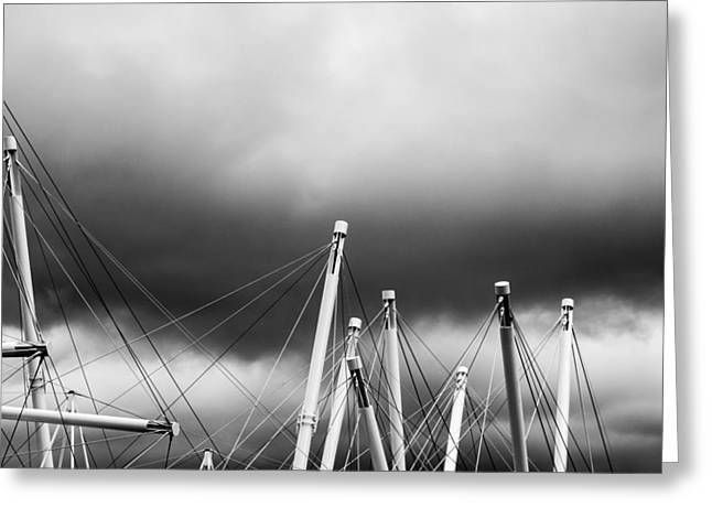 Grey Clouds Greeting Cards - Kurilpa Bridge In Monocrome Greeting Card by Parker Cunningham