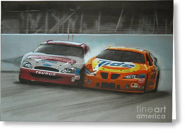 Sponsor Greeting Cards - Kurt Busch and Ricky Craven-2003 Darlington Finish Greeting Card by Paul Kuras